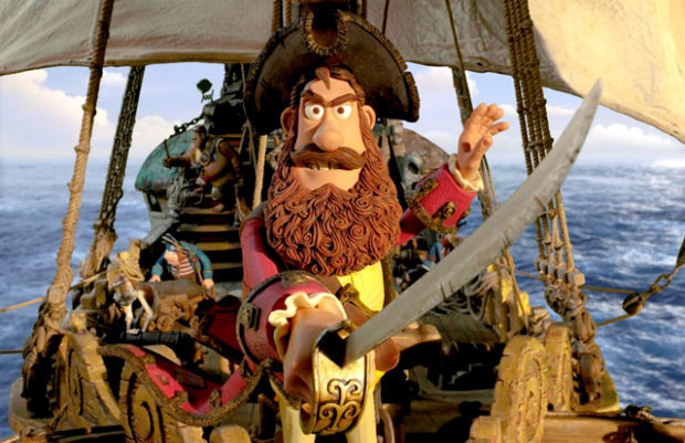 Hugh Grant takes the lead role as the Pirate Captain (center) in THE PIRATES! BAND OF MISFITS, an animated film produced by Aardman Animation for Sony Pictures Animation.